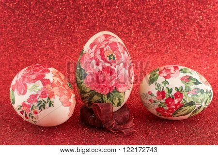 Colorful homemade and decoupage decorated Easter eggs