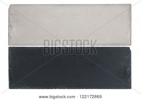 White and black board of Slate slabs isolated on white background
