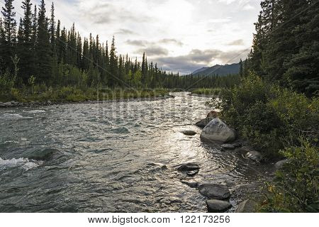 Twilight on a Riley Creek in Denali National Park in Alaska