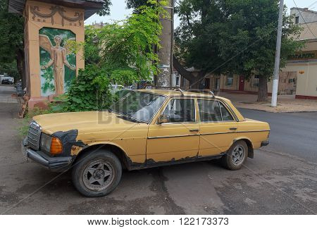 Odessa Ukraine - August 23 2015: Old Mercedes car parked on the street