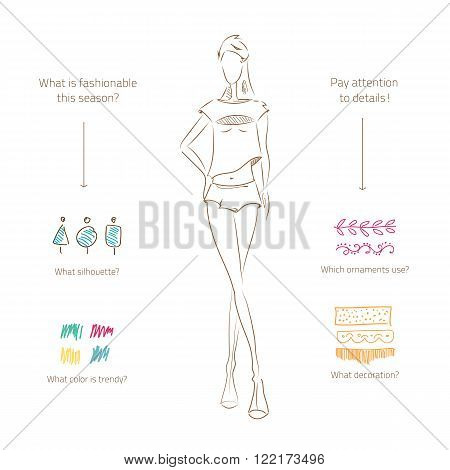 Vector fashion model. Vector sketch silhouette. Vector samples of design. Dress pencil sketch. Vector fashion outline. Vector style  lady. Vector fashion girl. Samples  of fabric, ornament.