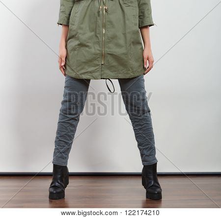 Closeup Woman In Dark Green Jacket. Autumn Fashion