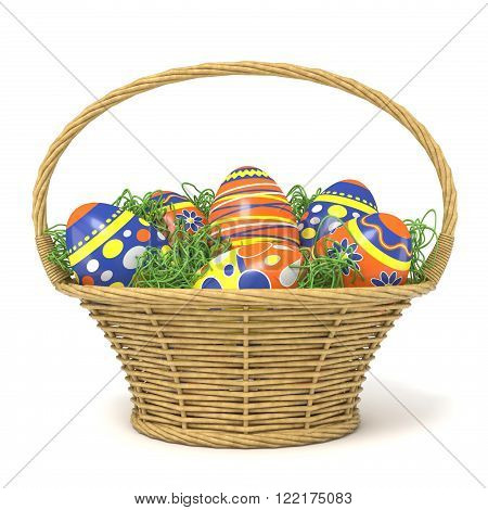 Easter basket full of decorated eggs with grass decoration. 3D render illustration isolated on white background