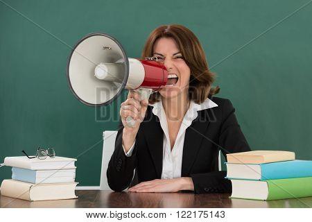 Female Teacher Shouting Through Megaphone