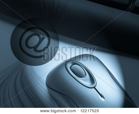 Email symbol overlaid over mouse and keyboard