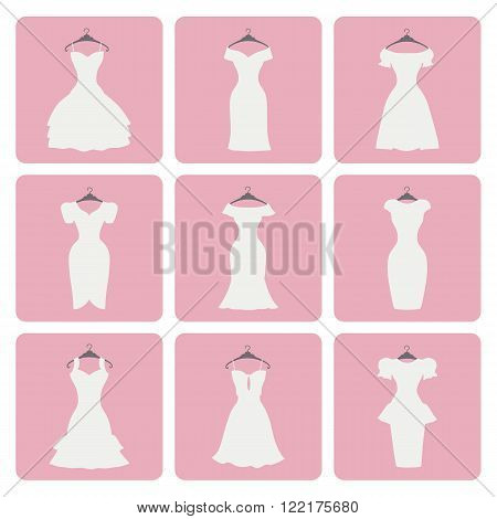 Fashion wedding dresses.Flat icons signs.Different styles of little white bridal dresses, Fashion Silhouette set.Modern vector Composition.Illustration for web, mobile, print.Square pink Button