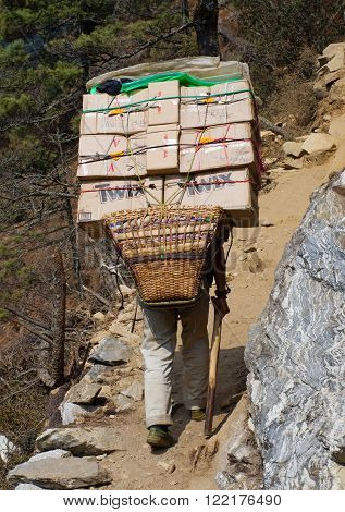 SAGARMATHA NATIONAL PARK NEPAL - MARCH 18: Porters carry heavy load in the Himalaya on March 18 2014 in Sagarmatha National Park Nepal