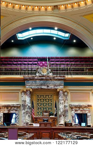 ST. PAUL, MINNESOTA - JANUARY 18: Senate Chamber of the Minnesota State Capitol on January 18, 2011. It is the largest upper house assembly by membership of any state legislature in the United States.
