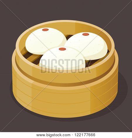 Steamed custard bun with yolk dim sum on a bamboo tray vector illustration