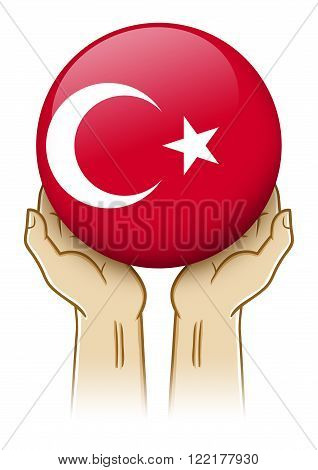 Pair of hand holding and lifting an orb with Turkey insignia