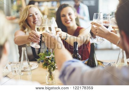 Friends Party Cheers Enjoying Food Concept
