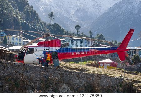 LUKLA NEPAL - MARCH 19: Tenzing-Hillary Airport the most dangerous airport in the world on March 19 2014 in Lukla Nepal.