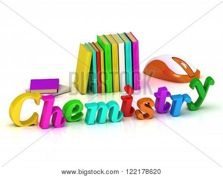 Chemistry inscription bright volume letter and textbooks and computer mouse on white background