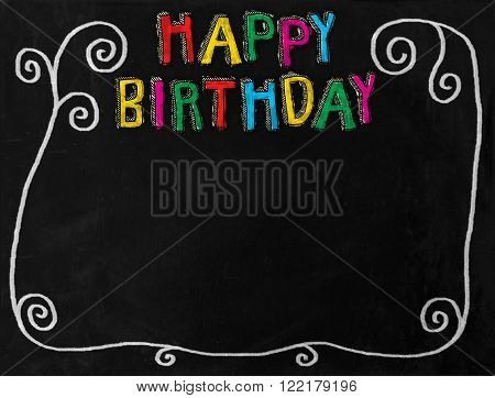 A digitally created chalkboard with white chalk swirl border and HAPPY BIRTHDAY text.