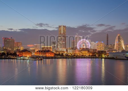 Night view of Yokohama bayside and landmark Tower