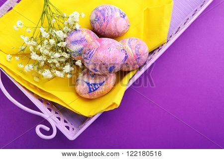 Easter eggs on a tray, close up