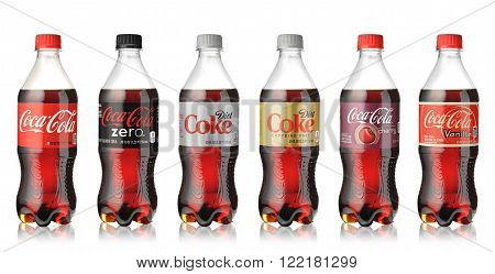 LOS ANGELES USA - MARCH 13 2015 Photo of Coca-Cola plastic bottles isolated on white background. Coca Cola is the most popular carbonated soft drink beverages sold around the world