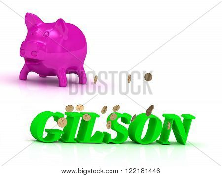 GILSON bright of green letters and rose Piggy on white background
