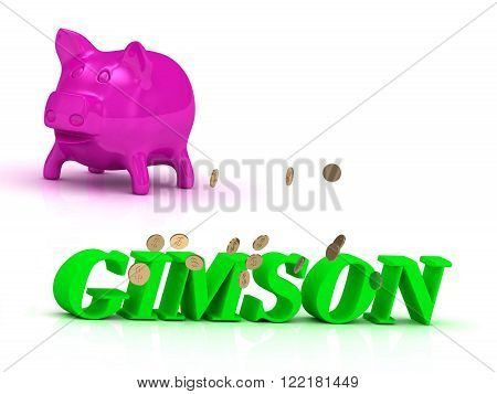 GIMSON bright of green letters and rose Piggy on white background