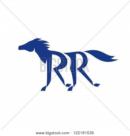 Illustration of a dark blue horse silhouette running with double R as its legs set on isolated background done in retro style.