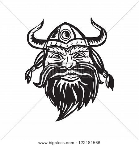 Black and white illustration of a head of a norseman viking warrior raider barbarian wearing horned helmet with beard viewed from the front set on isolated white background.