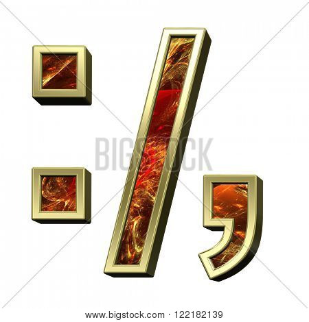 Colon, semicolon, period, comma from fire alphabet set isolated over white. Computer generated 3D photo rendering.