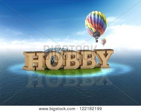 HOBBY bright word night sky air ball sea on white background