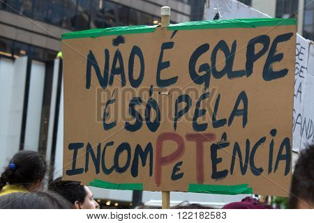Sao Paulo, Brazil April 2016: Protest against federal government corruption in Brazil