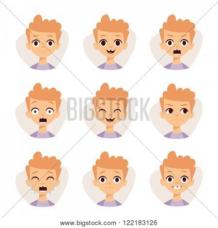 Funny boy emotions and cute boy portrait emotions avatars. Illustration featuring boy kids showing different facial expressions emotions cartoon vector.