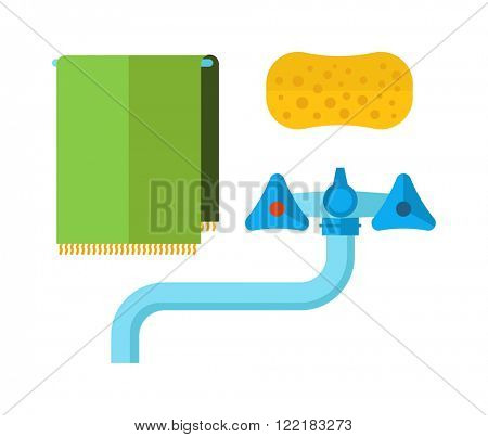 Clean water tap and water tap with towel, sponge bathroom symbols. Water tap towel, sponge flat vector icon.