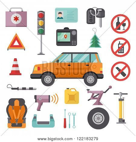 Various car parts equipment accessories, car equipment auto tools set vector. Car drive service elements concept with flat icons and mechanic car equipment vector.