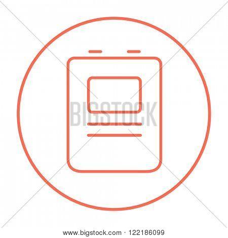 Heart defibrillator line icon.