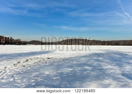 Snow in Van Cortlandt Park in the winter in Bronx, New York.