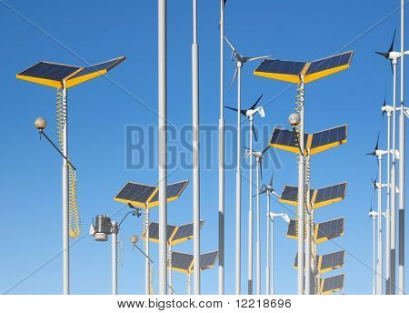 Telephoto view of wind generators and solar panels
