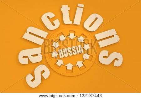 Sanctions against Russia conceptual illustration. Gear and pressure