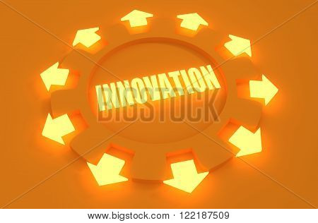 Industry theme relative concept. Arrows withing cog wheel. Innovation text. 3d rendering