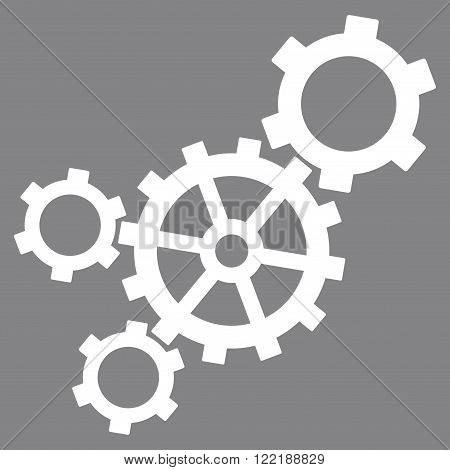 Mechanism vector icon. Picture style is flat mechanism icon drawn with white color on a gray background.