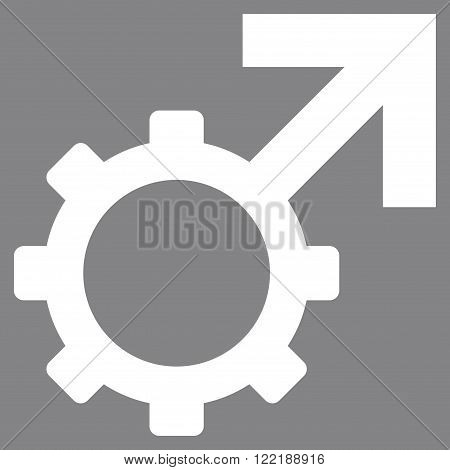 Technological Potence vector icon. Picture style is flat technological potence icon drawn with white color on a gray background.
