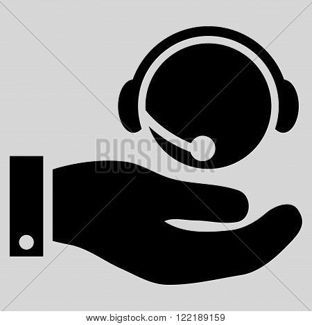 Call Center Service vector icon. Picture style is flat call center service icon drawn with black color on a light gray background.