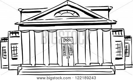 Outlined Building With Columns