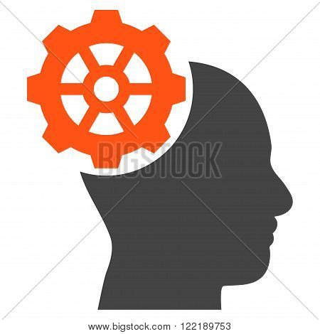 Head Gear vector icon. Picture style is bicolor flat head gear icon drawn with orange and gray colors on a white background.