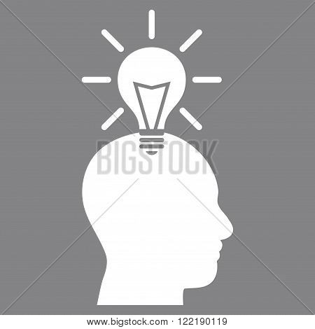 Genius Bulb vector icon. Picture style is flat genius bulb icon drawn with white color on a gray background.