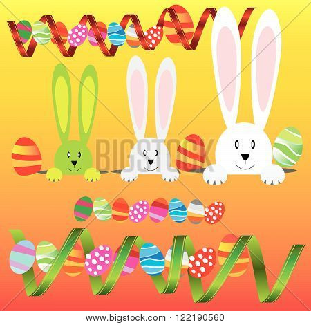 White easter rabbit. Easter Bunny  and easter happy