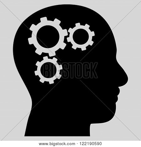 Brain Preferences vector icon. Picture style is flat brain gears icon drawn with black color on a light gray background.