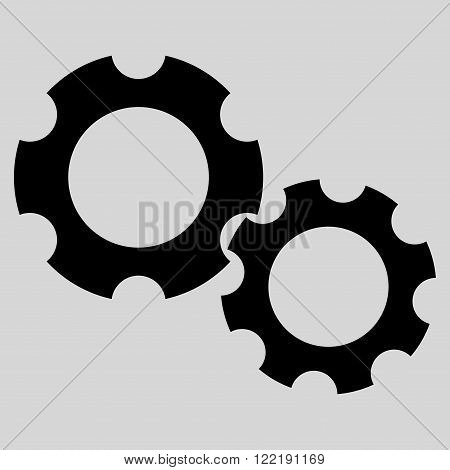 Engine Components vector icon. Picture style is flat gears icon drawn with black color on a light gray background.