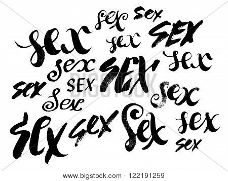 Sex. Hand drawn lettering. Serigraphy shirt print. Brush lettering