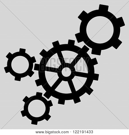 Mechanism vector icon. Picture style is flat mechanism icon drawn with black color on a light gray background.