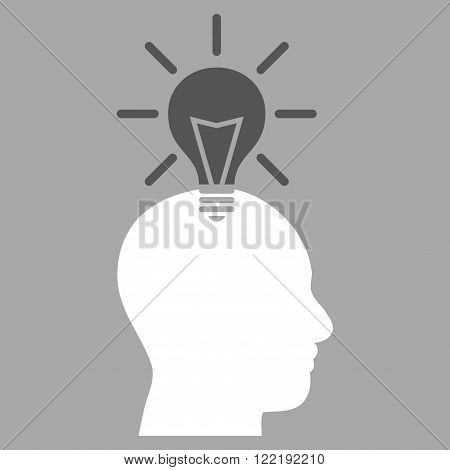 Genius Bulb vector icon. Picture style is bicolor flat genius bulb icon drawn with dark gray and white colors on a silver background.