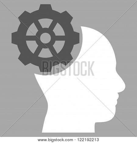 Head Gear vector icon. Picture style is bicolor flat head gear icon drawn with dark gray and white colors on a silver background.