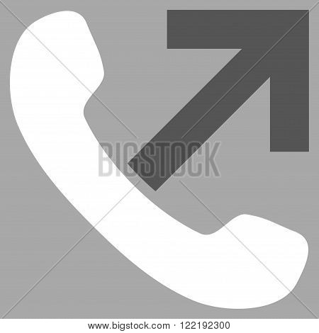 Outgoing Call vector icon. Picture style is bicolor flat outgoing call icon drawn with dark gray and white colors on a silver background.